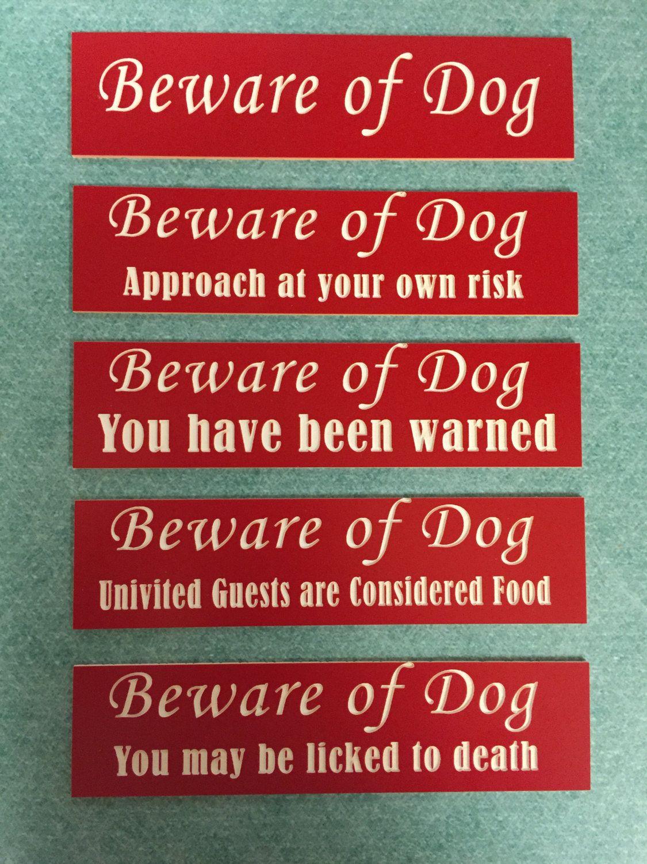 Beware Of Dog Door Sign Choose From 5 Designs 30 Colors Laser
