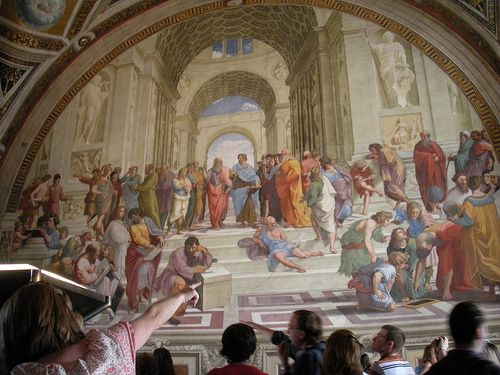 The School of Athens painting found in the Vatican Museum.