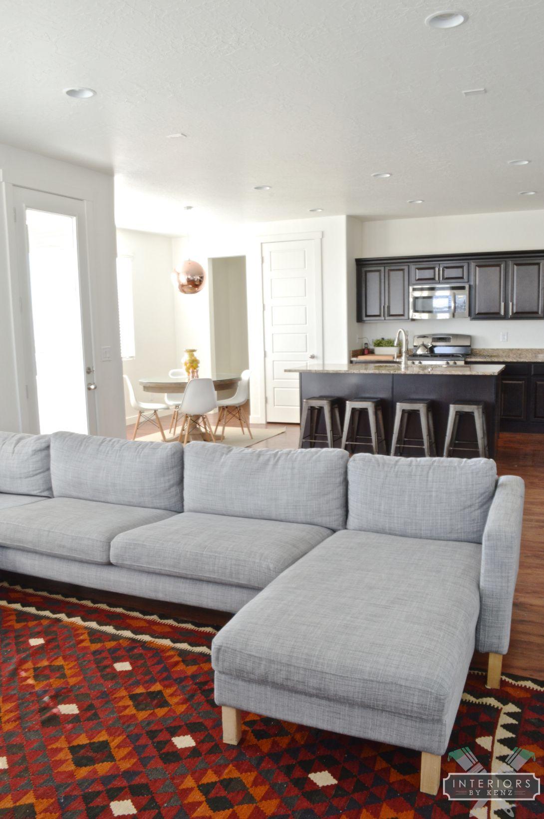 Maimana Kilim Rug In A Mid Century Modern Inspired Living Room