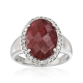 7.00 Carat Ruby and .30 ct. t.w. Diamond Ring in Sterling Silver