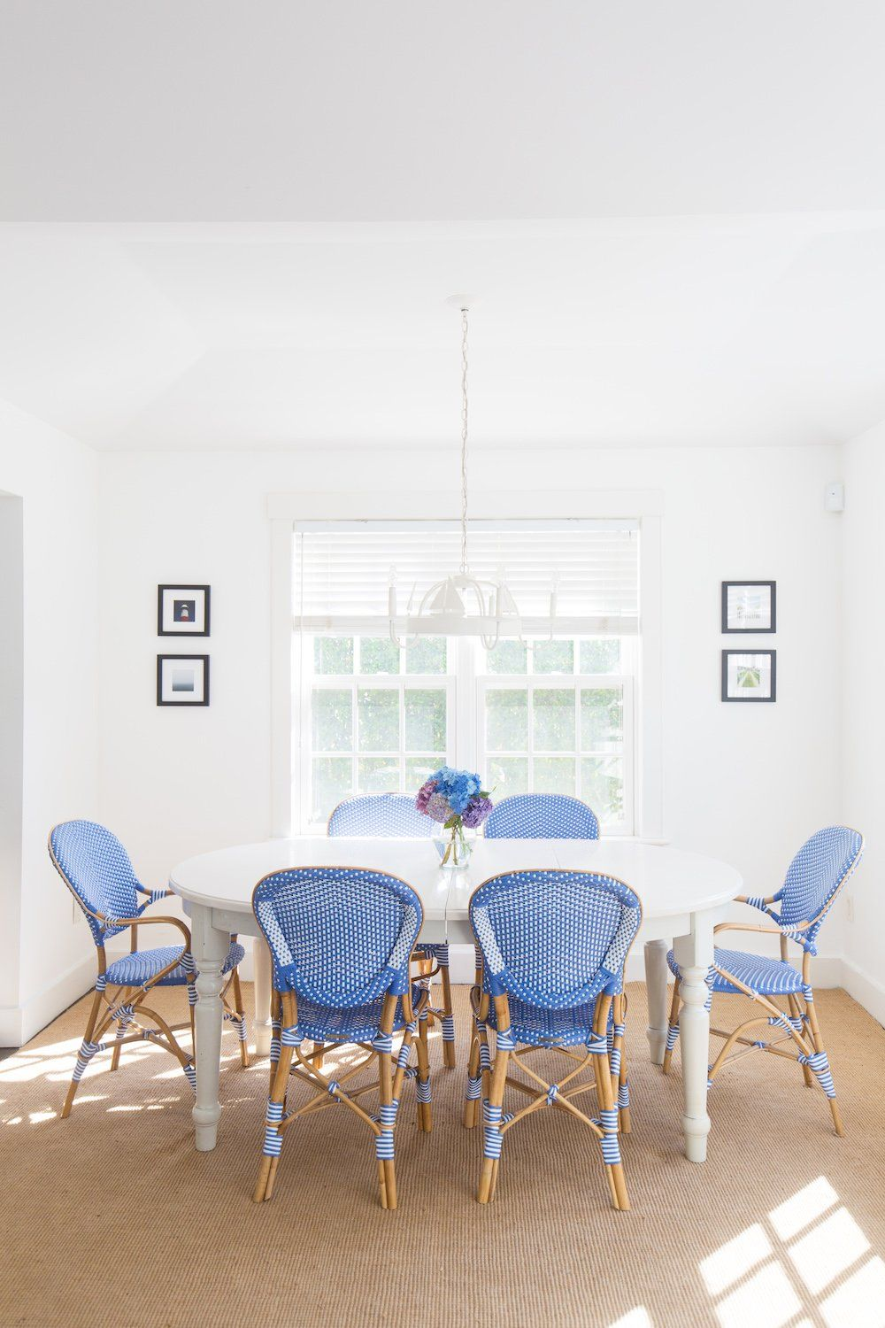Design Darling Mackenzie Horan Uses Our Frontgate Paris Bistro Arm Chair In Capri Blue Her Nantucket Dining Room