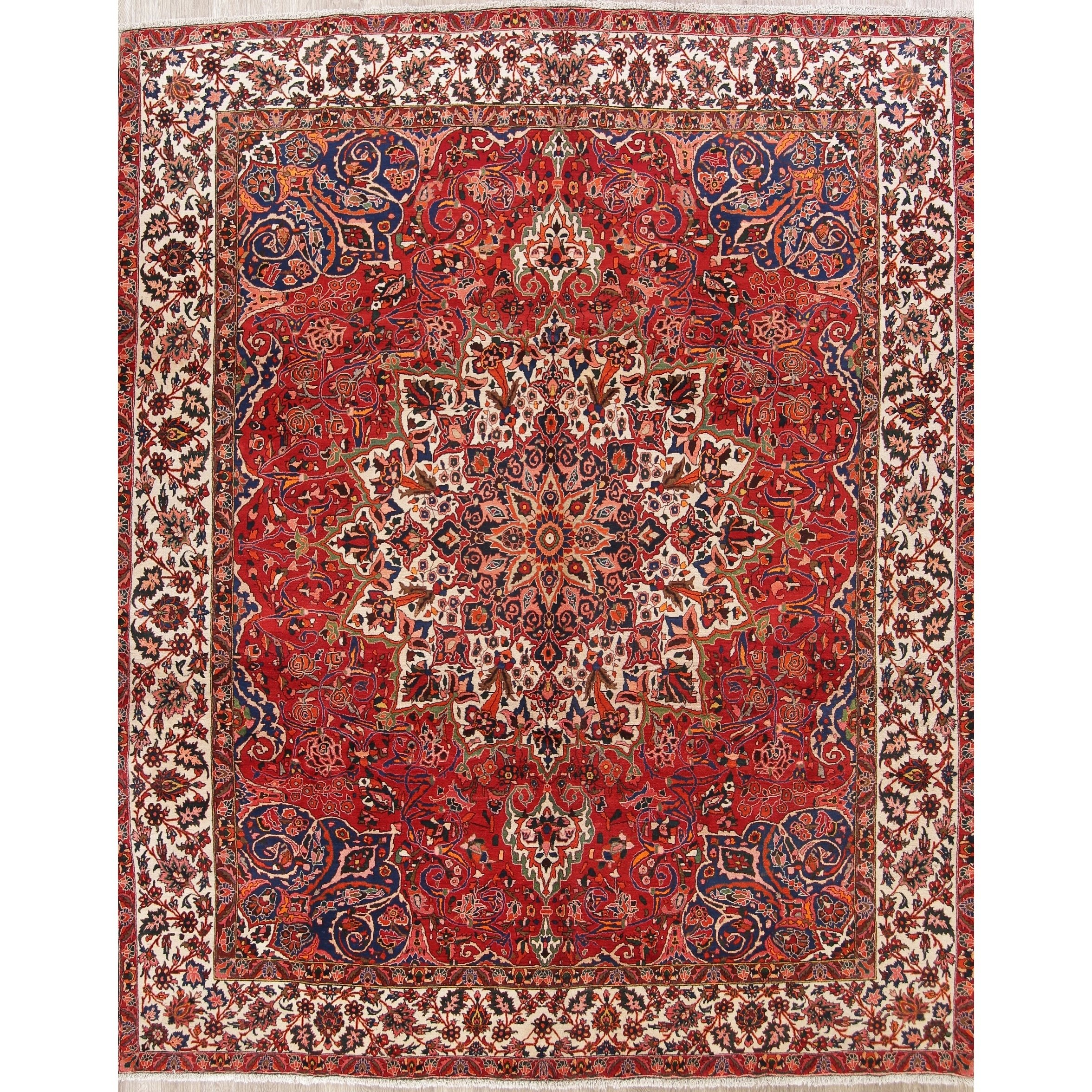 Refurbished Vintage Handmade Wool Geometric Bakhtiari Persian Area