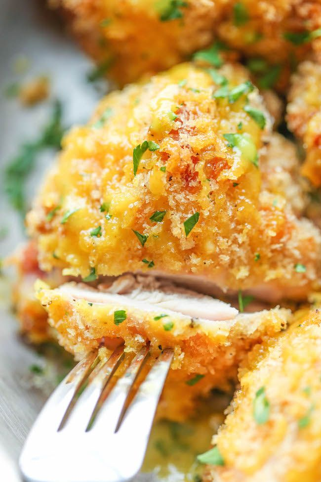 Oven Fried Chicken with Honey Mustard Glaze - No one would ever guess that this was baked, not fried. And the honey mustard glaze is to die for!