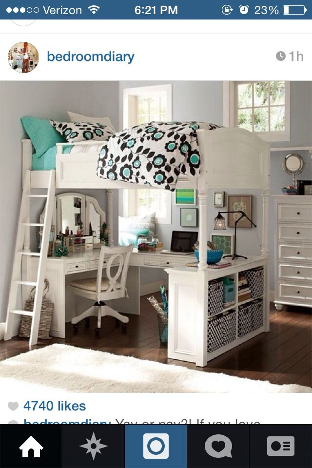 Bed vanity desk and storage Awesome Bed