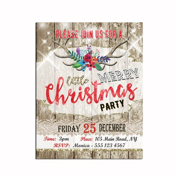 Christmas Party Invitation Printable Rustic Christmas Party Poster