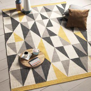 tapis 100 en laine tiss main losange gris jaune kalmar. Black Bedroom Furniture Sets. Home Design Ideas
