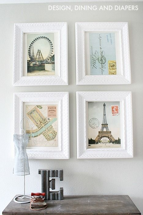 White Wall Frames wall art made from an old calendar of paris with white frames