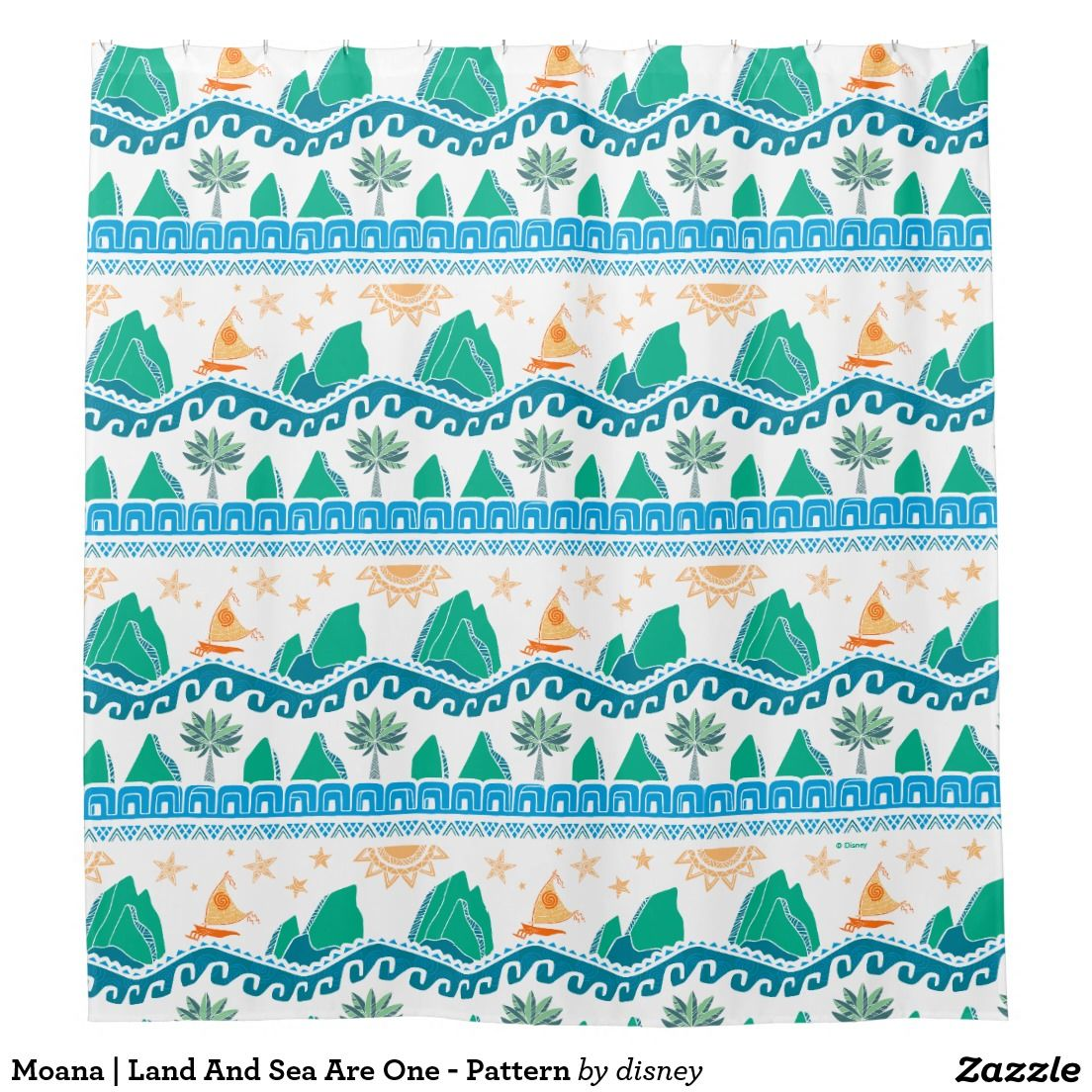 Moana Land And Sea Are One Pattern Shower Curtain Zazzle Com Patterned Shower Curtain Moana New Bathroom Ideas