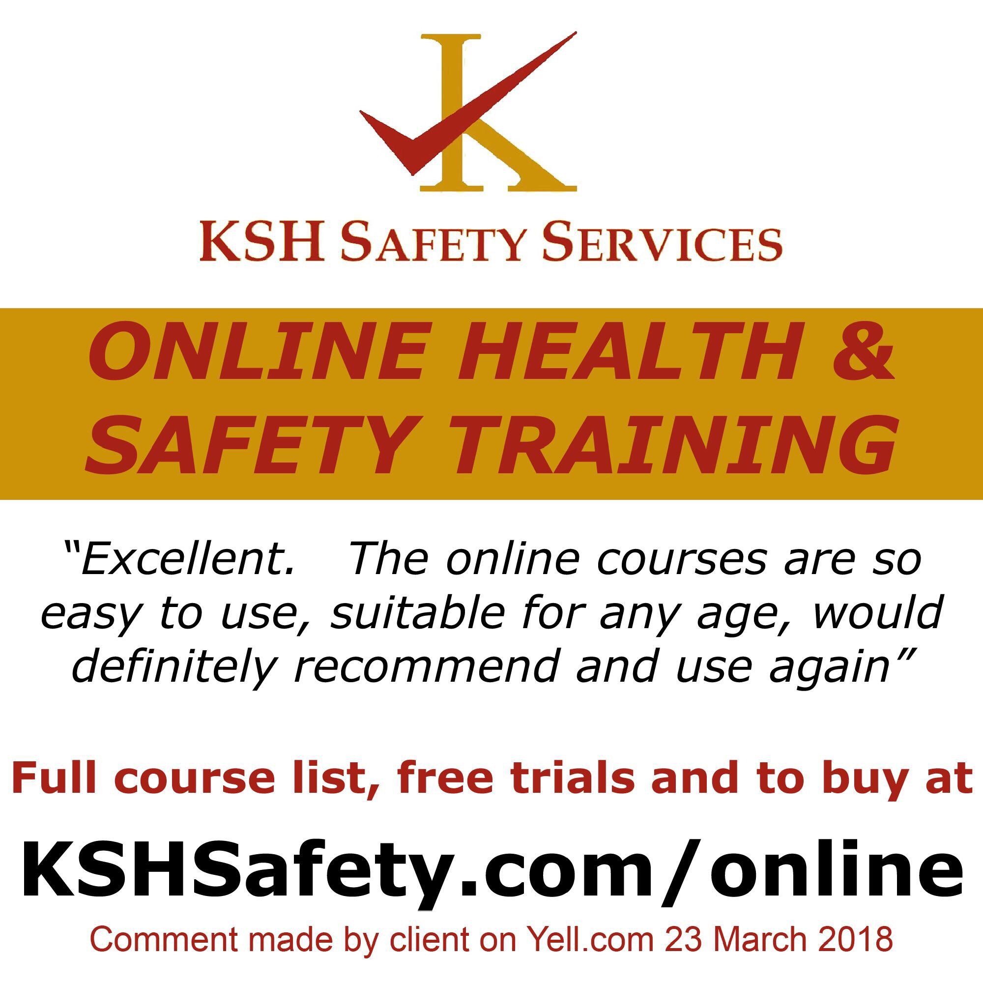 Online health and safety training from KSH Safety Services
