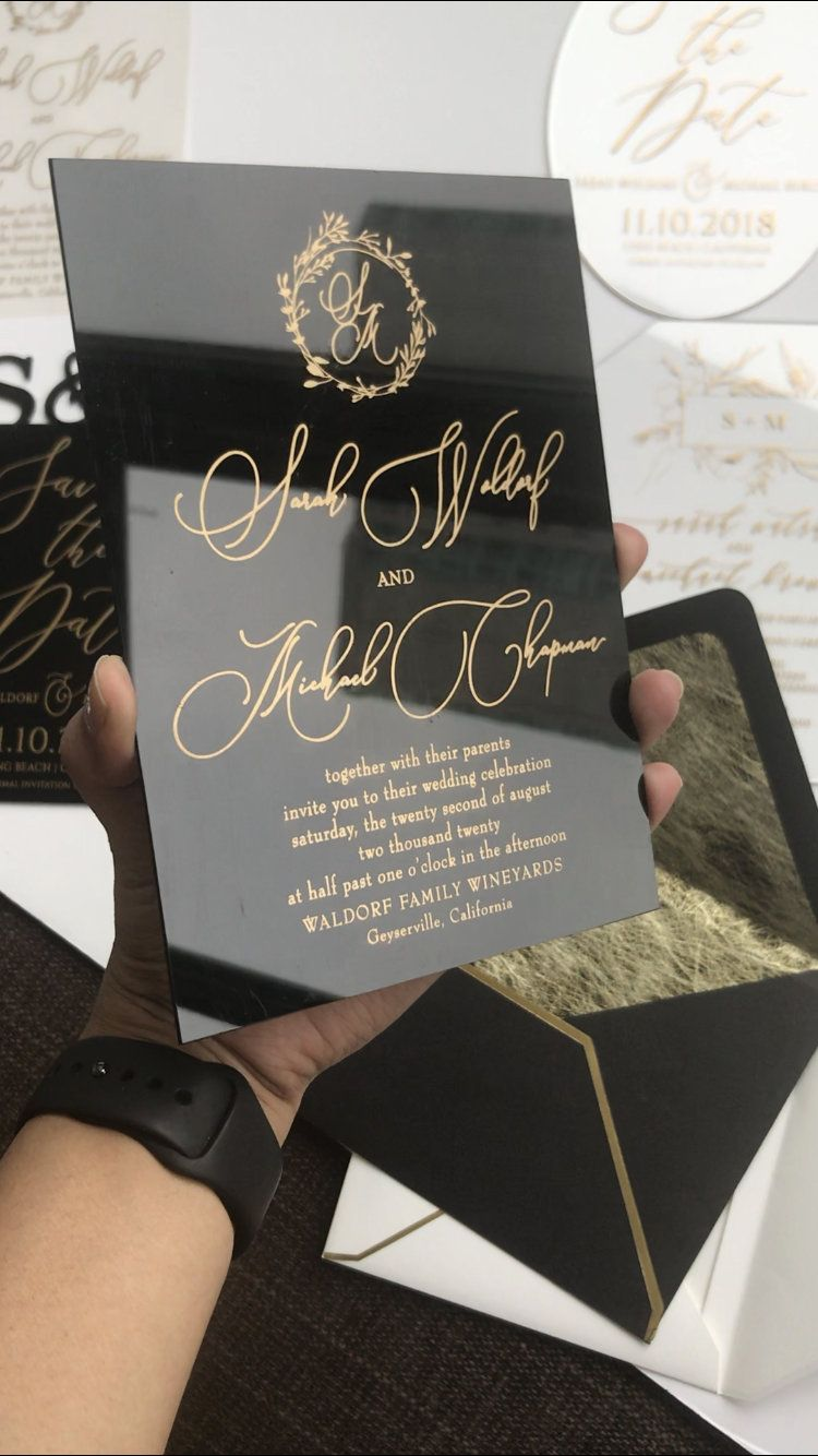 Black Acrylic gold WEDDING INVITATION clear perspex double sided modern wreath envelope liner printed calligraphy gold foil envelope invite is part of Wedding invitations - colors, please contact us before the purchase is made