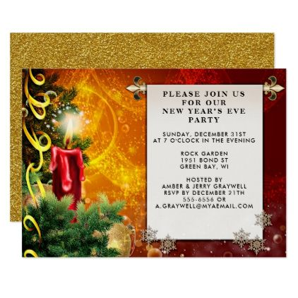 Warm Seasonal New Years Eve Party Invitation Card - light gifts