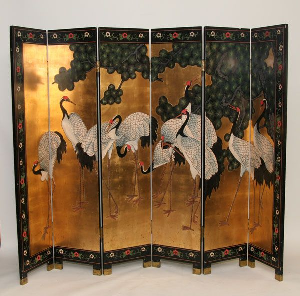 Impressive early 20th Century Japanese lacquer six panel divider screen