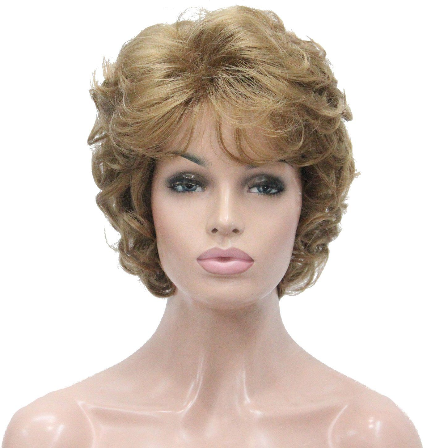 Lydell Women's Short Curly Wavy Wig Synthetic Hair Full
