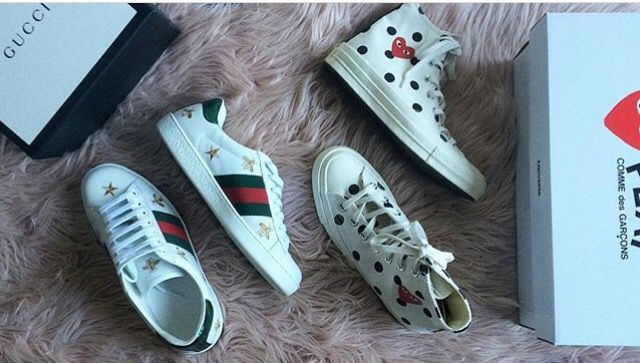 f93f59860ced Gucci Sneakers x Comme Des Garçons sneakers. Check my Instagram out   badgalmafgods  Gucci  Converse  Commedesgarcons