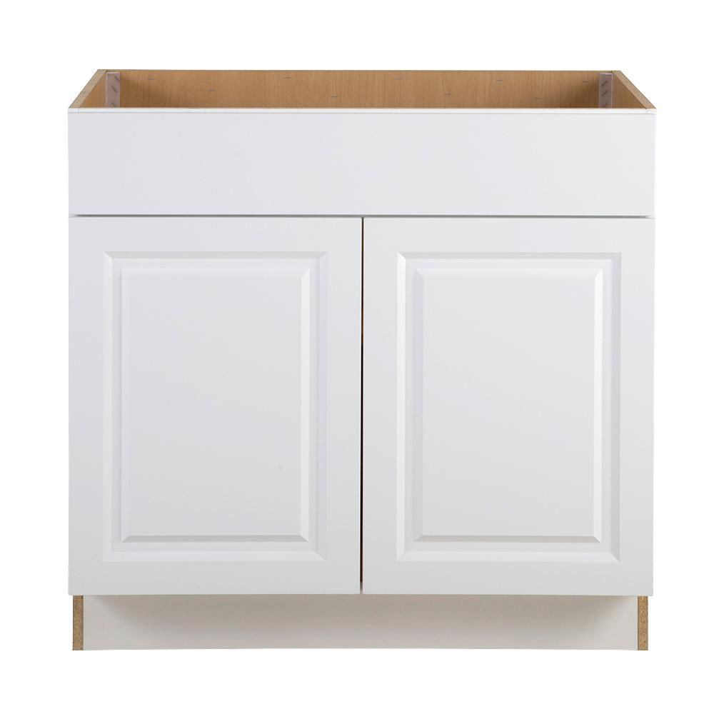 Hampton Bay Benton Assembled 36x34 5x24 In Sink Base Cabinet With False Drawer Front In White Bt3635s Wh The Home Depot Base Cabinets Kitchen Base Cabinets Drawer Fronts