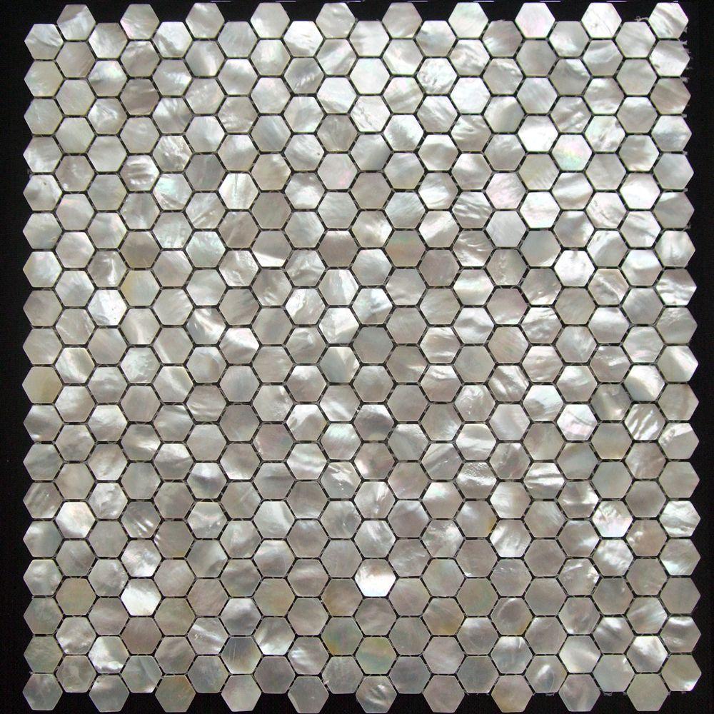 Hexagon blanc nacre mosa que coquillage salle de bains dosseret h tel taille de la puce 15 - Stickers pour salle de bain sur carrelage ...