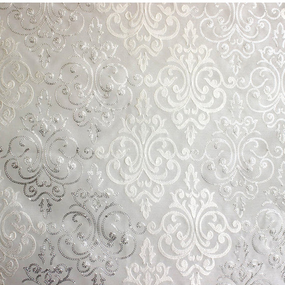 White & Silver Damask Embroidered Sheer Curtain Fabric By ...