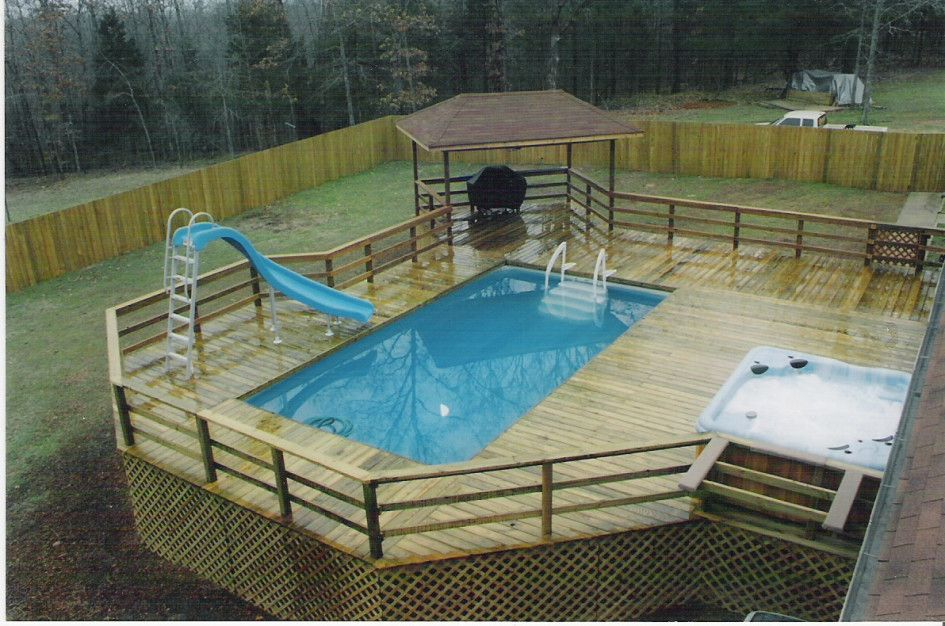 Astonishing Portable Decks For Swimming Pools With Outdoor Whirlpool Tubs Also Above Ground Pool Slide