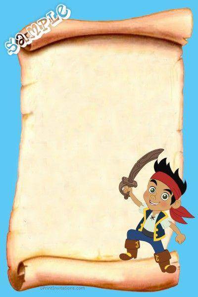 Pirate Birthday Invitations Jake And The Neverland Pirates Map Piratas Fiesta