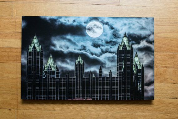 The super moon hangs over the spires of PPG Place in Pittsburgh - 12x18 Metal Print