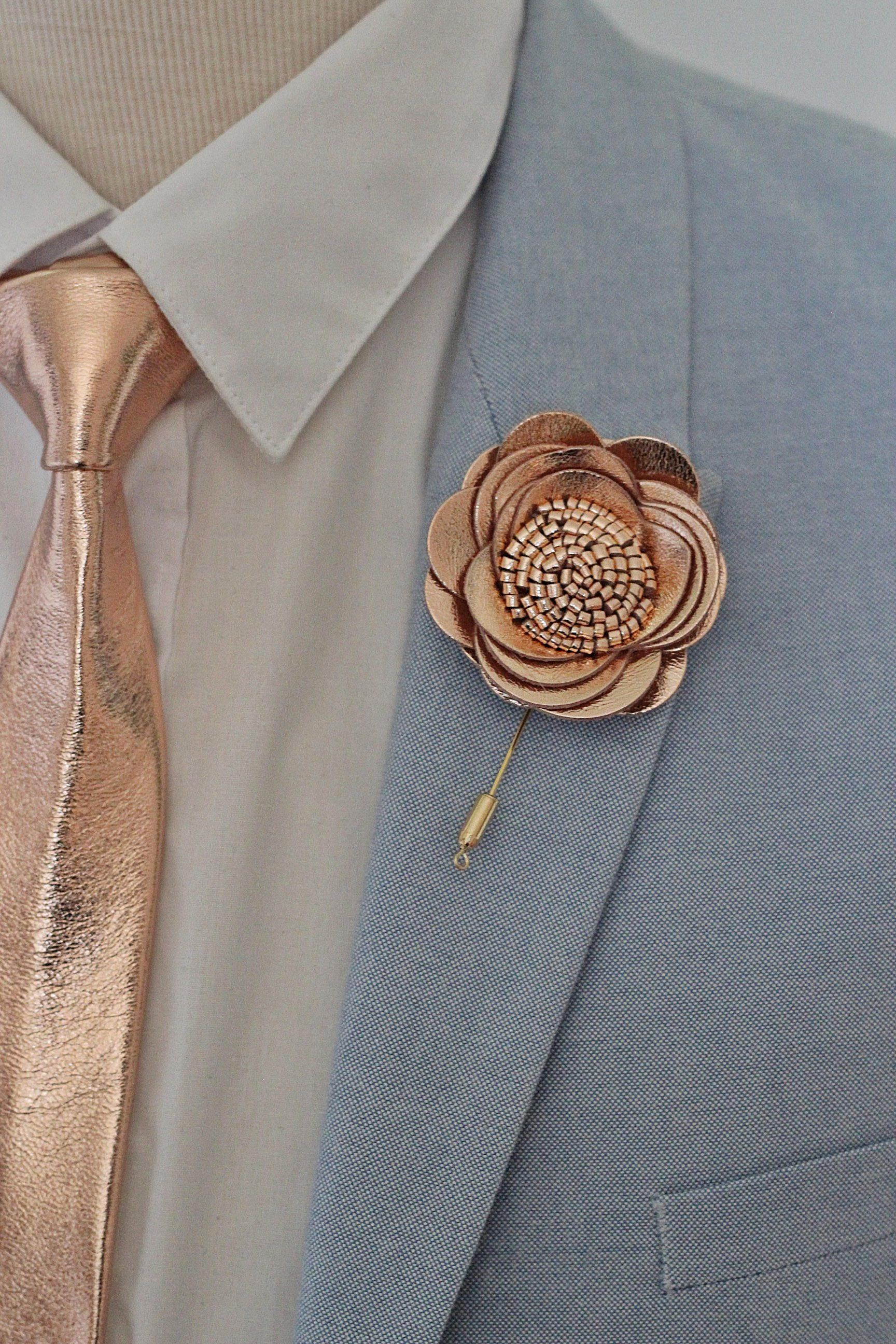lapel rosette single with finish duo pin and brooch silver petal chain badges suit