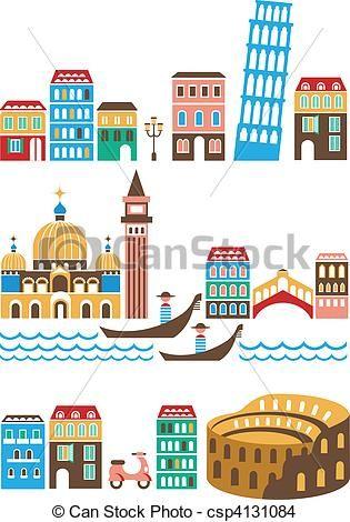 Vector - Italian landmarks - stock illustration, royalty free ...
