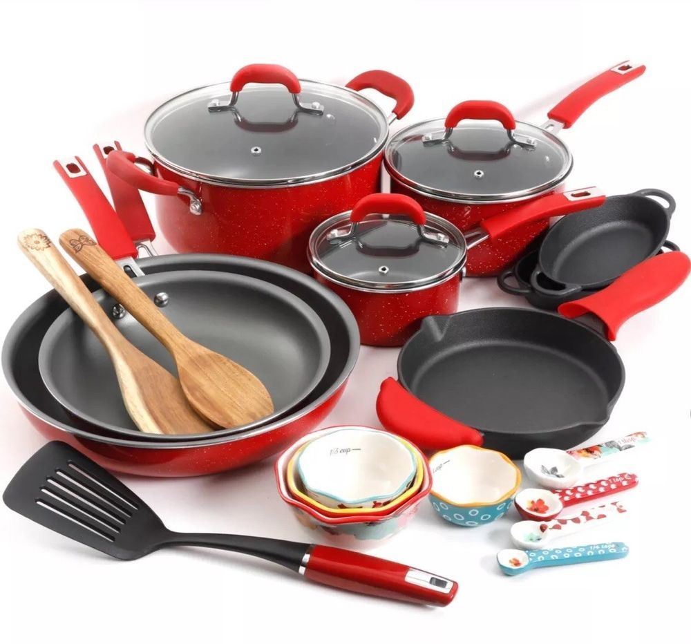 24 Piece Pioneer Woman Red Cookware Dishes Combo Set Non Stick