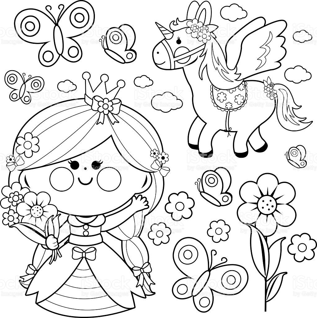 Beautiful Princess Holding Spring Flowers Unicorn And Butterflies Unicorn Coloring Pages Butterfly Coloring Page Princess Coloring Pages