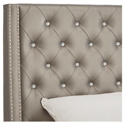 65c111c60b25 Rosalyn Crystal Tufted Wingback Headboard Full Metallic Grey - Inspire Q