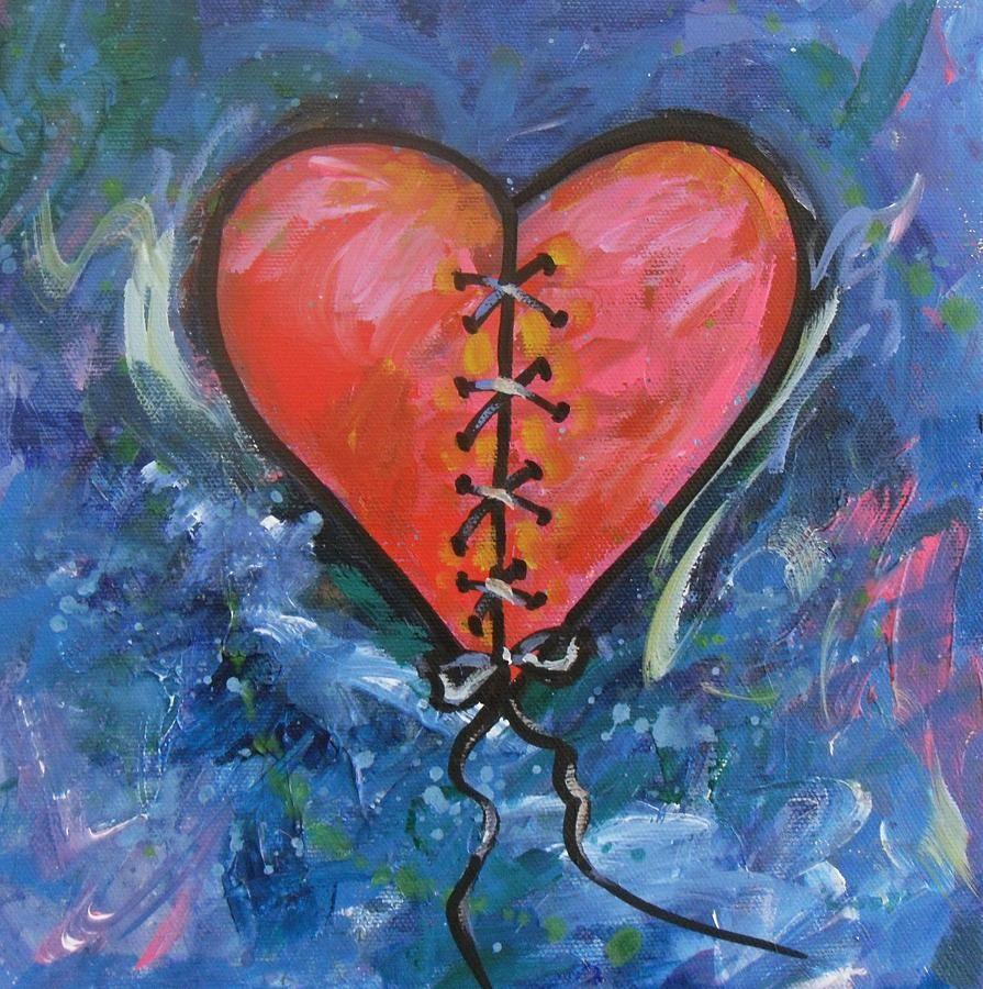 Broken Heart Heart Art Heart Painting Heart Canvas Art
