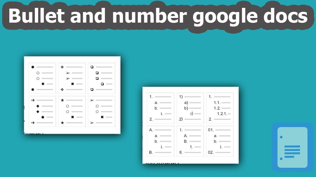 How to add bullet and numbering list google docs