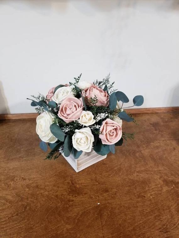 Sola Wood centerpiece , Centerpieces, Wedding reception decor, Centerpieces, rose pink center... So