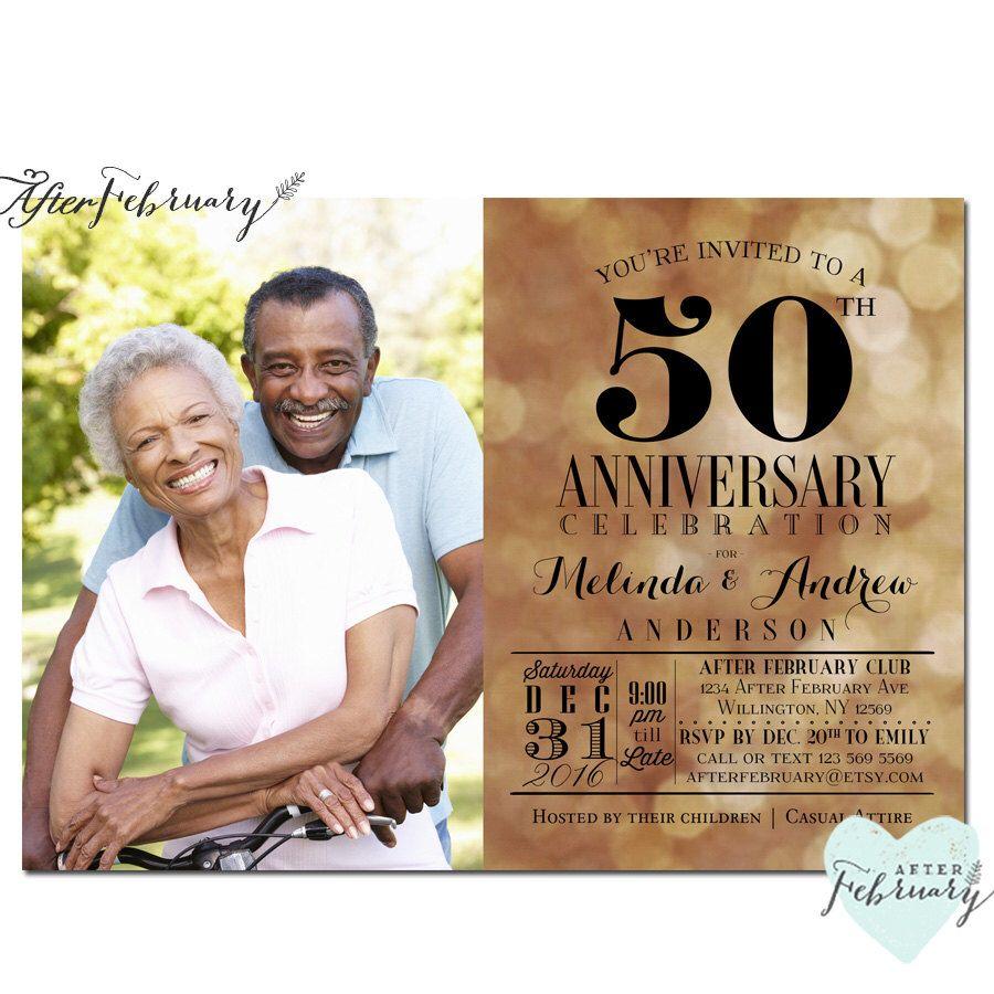 50th Anniversary Invitation // Golden Wedding Anniversary Invite ...