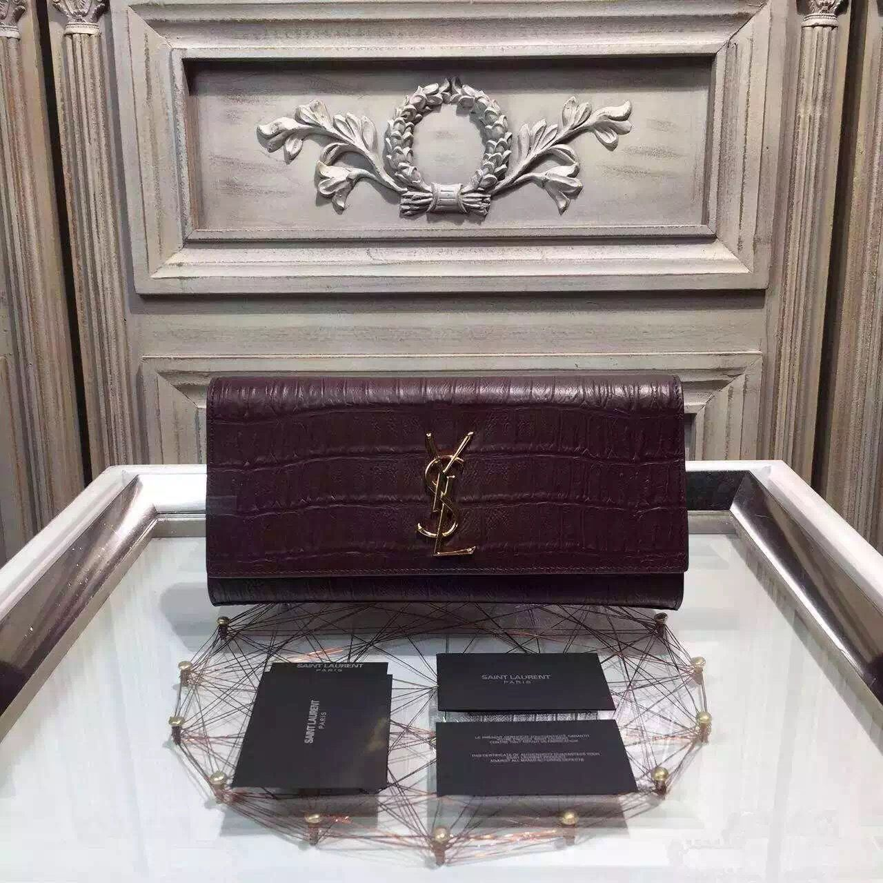 dc9e30e37d0 Saint Laurent 326079 Classic Monogram Clutch in Burgundy Crocodile Embossed  Leather