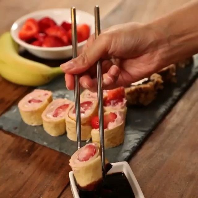 Strawberry cream cheese, strawberries snd banana pancake roll-up dipped in chocolate syrup! Loving it  Source: @forkyeah ❤️TAG someone who would love this!