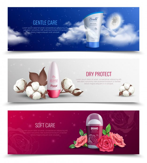 Colored horizontal banners presenting de  Free Vector