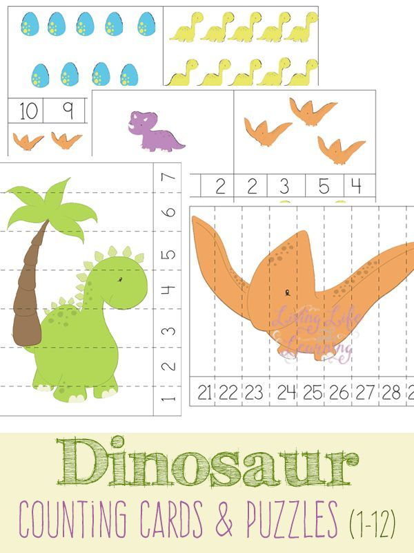 dinosaur counting cards and puzzles my favorite kid activities from the internet dinosaurs. Black Bedroom Furniture Sets. Home Design Ideas