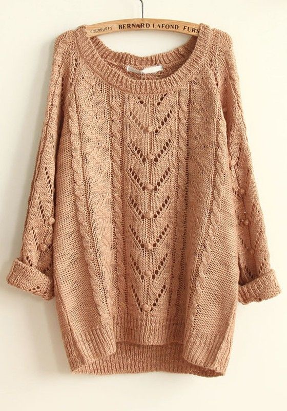 Khaki Geometric Hollow-out Round Neck Cotton Sweater | Cotton ...
