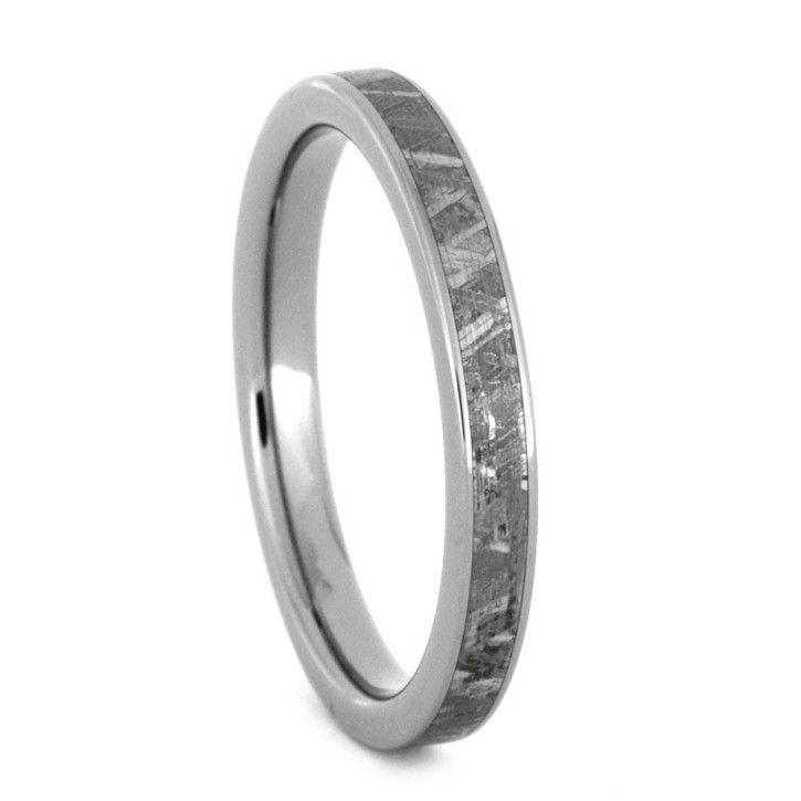Womens Meteorite Ring Thin Titanium Wedding Band
