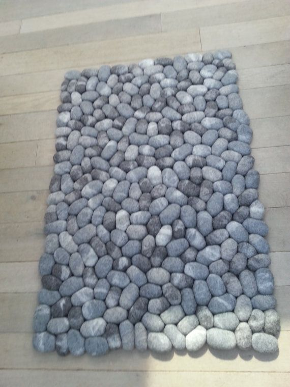 Felt Stone Rug Supersoft Pebbles Gray Someday Stone