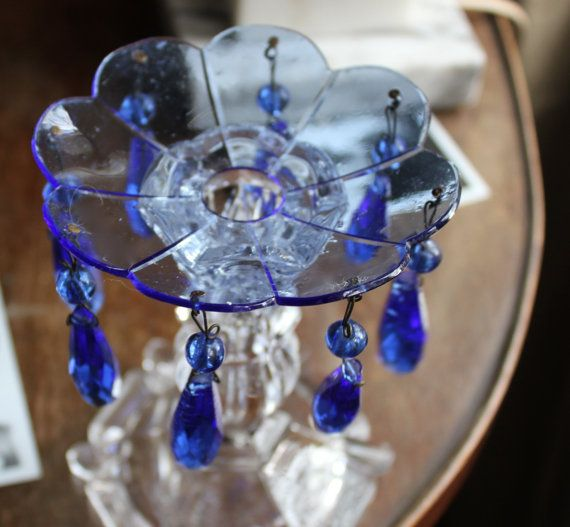 Vintage Antique Chandelier Crystals Prisms And Bobeche Cobalt - Chandelier crystals blue