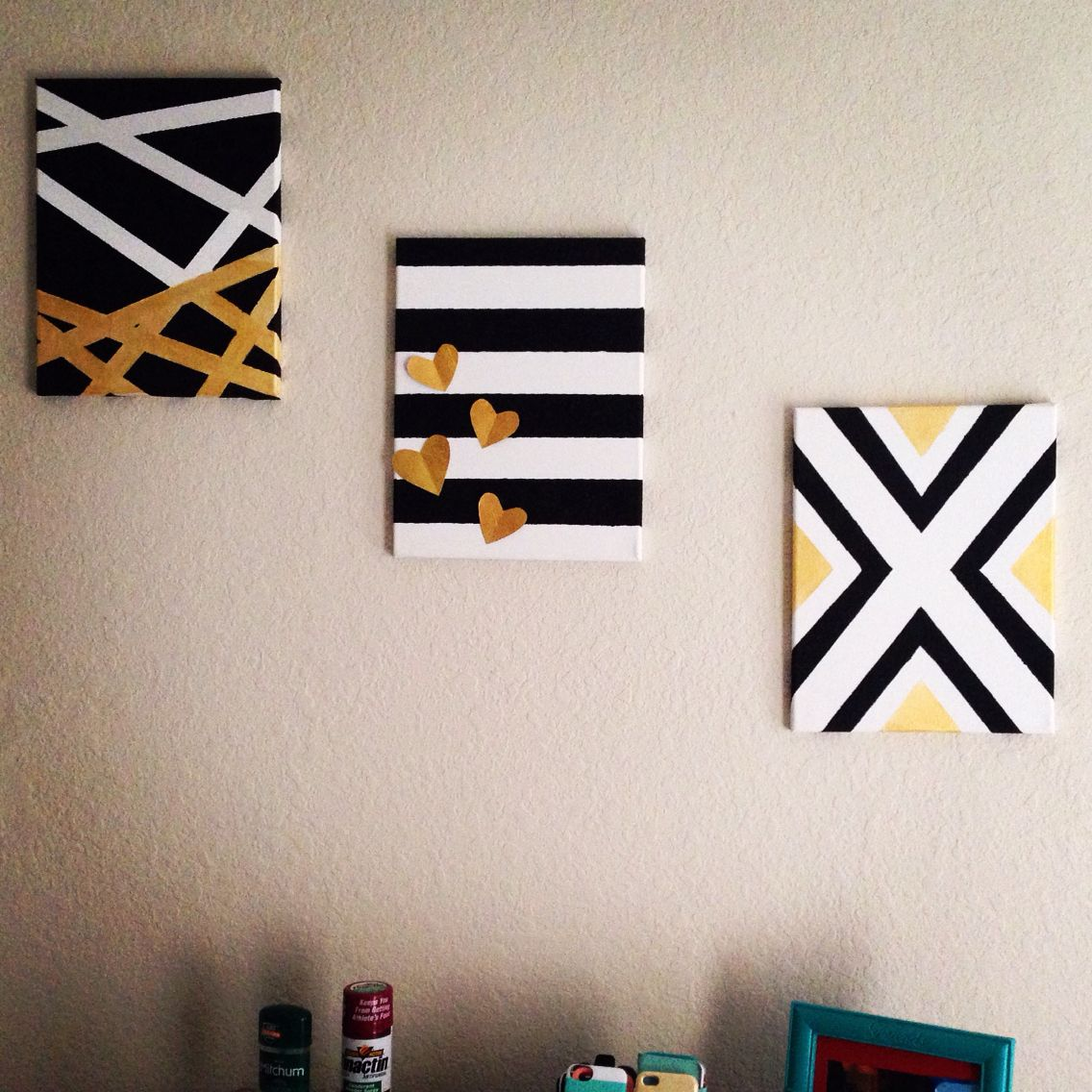 Diy Canvas Ideas Black White And Gold Michies Design Diy Wall