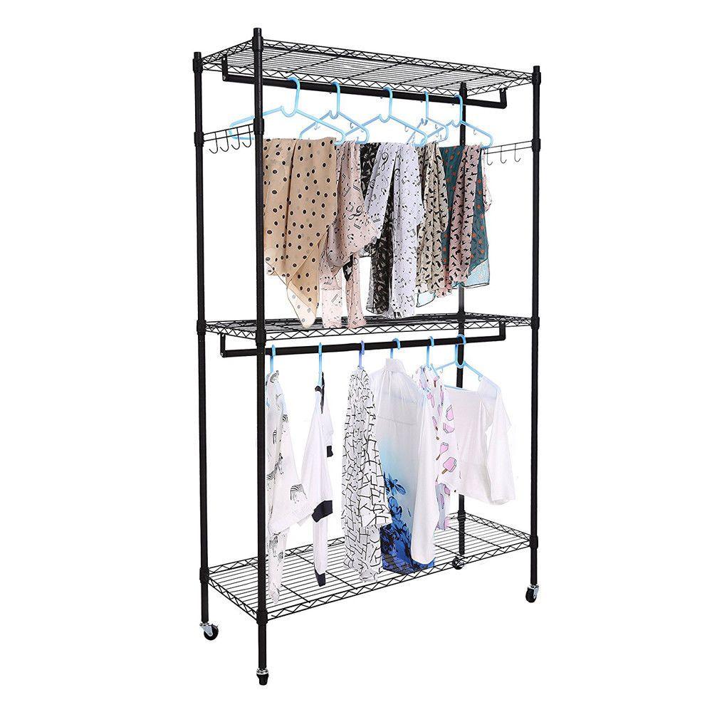 2tier Rod Closet Organizer Garment Rack Clothes Storage Hanger Shelf Hooks Black Wire Closet Shelving Closet Rack Garment Racks