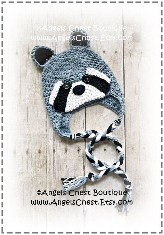Crochet RACCOON Beanie Earflap Hat PDF Pattern by AngelsChest ...