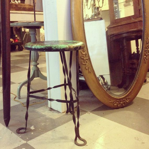 Vintage Industrial Stool with Twisted Iron by CuriosityVintage, $145.00. Etsy
