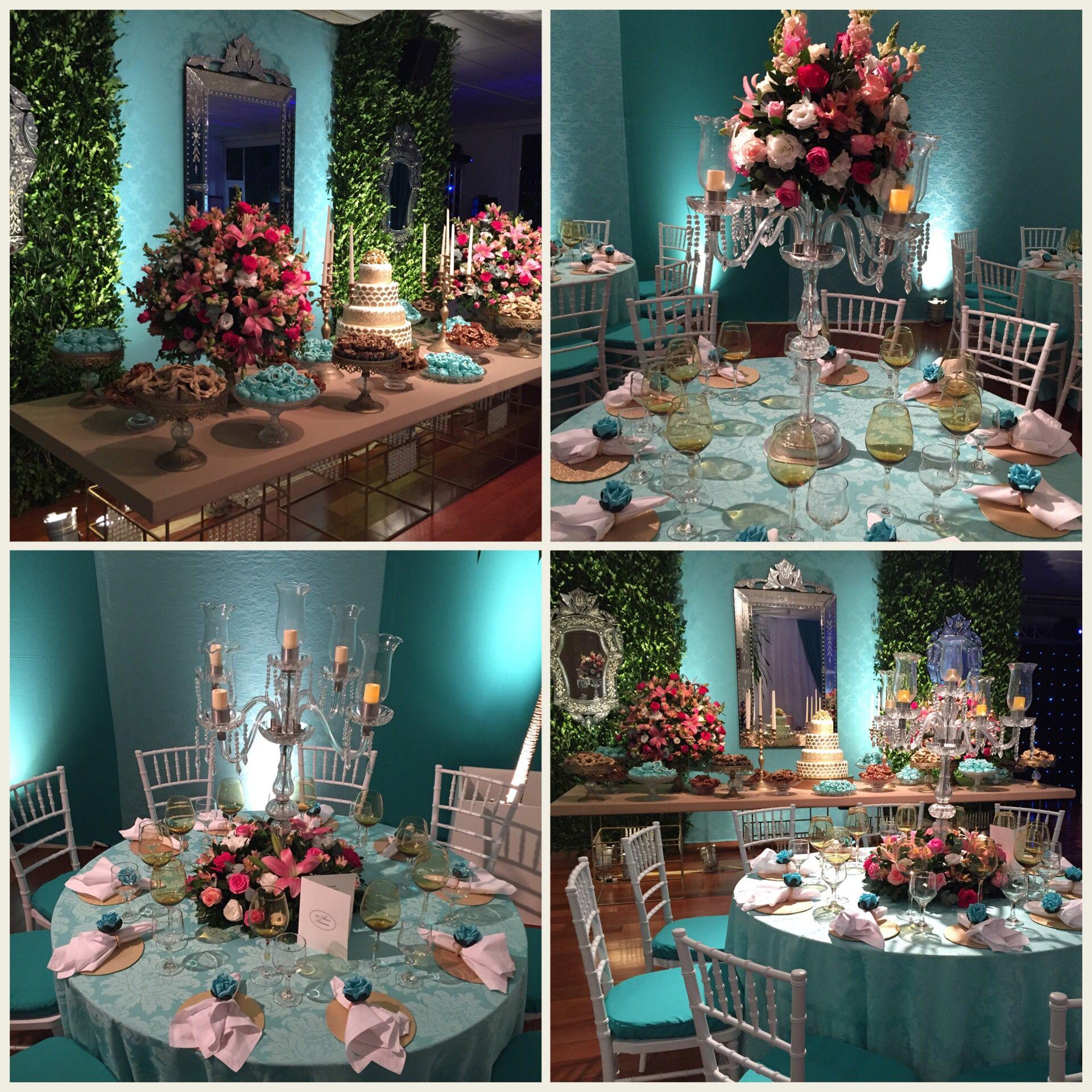 f0de4b00449f Decoração de festa de 15 anos azul Tiffany | 15 añis em 2019 ...
