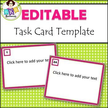 Save time with this task card template It is already set up in