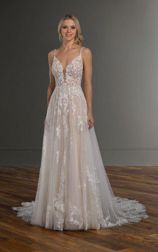 Photo of Spaghetti Strap V-neckline Embroidered Lace A-line Wedding Dress | Kleinfeld Bridal
