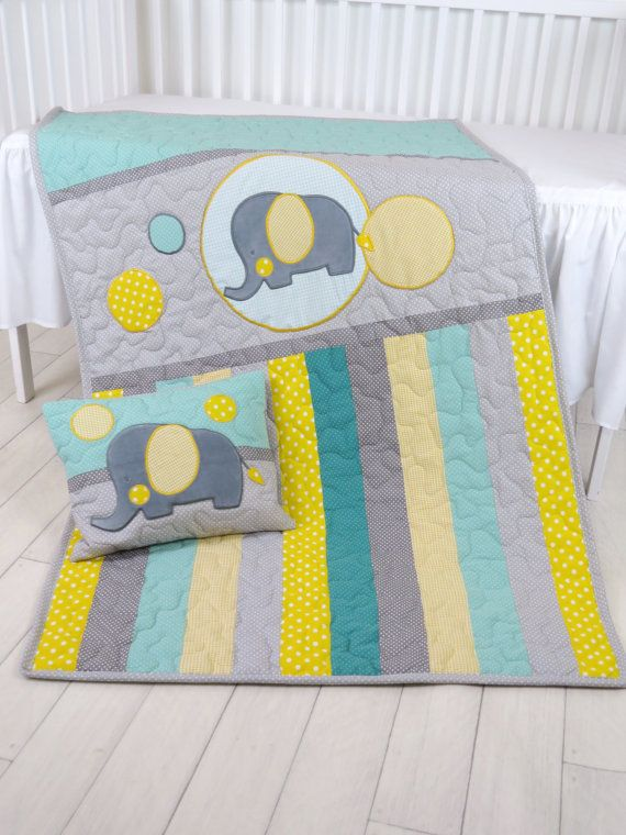 Baby Blanket, Teal Gray Crib Quilt, Elephant Bedding for Baby Boy ...