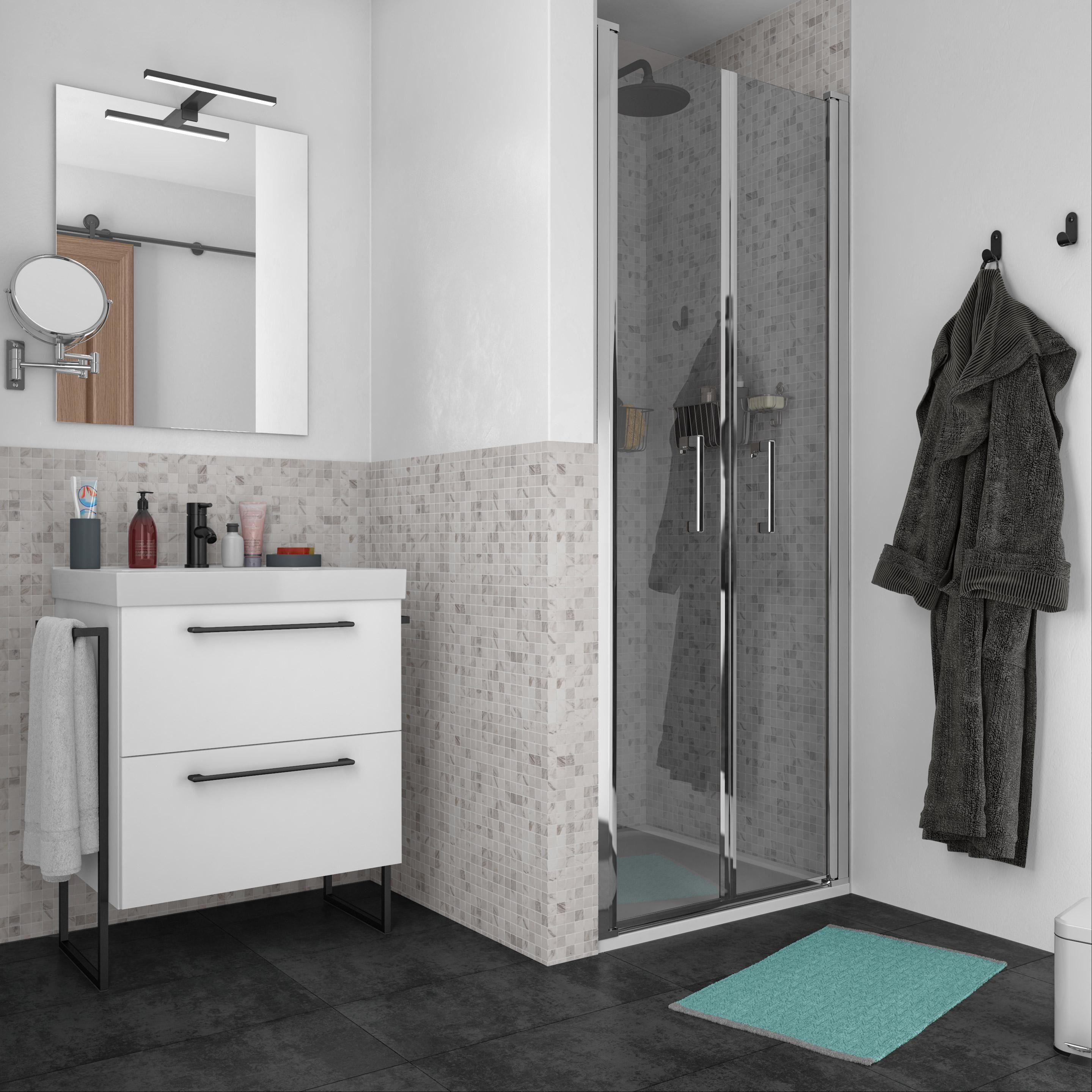 Meuble Salle De Bain Girona meuble simple vasque l.75 x h.58 x p.46 cm, blanc, remix